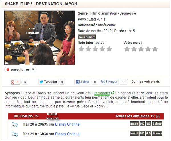 """. Shake It Up ; Made in Japan ! Enfin sur Disney Channel , le mardi 20 novembre à 20h35. Et le mercredi 21 novembre à 13h30. . Cece et Rocky se lancent un nouveau défit : remporter un concours et devenir les stars d'un jeu vidéo.Leur enthousiasme et leurs talents leur permettent de gagner et elles s'envolent pour le Japon. Mais tout ne se passe pas comme prévu.Sans le vouloir,elles déclenchent un problème informatique qui perturbe tout le pays : le """"Virus Cece et Rocky."""" Alors hâte ? ."""