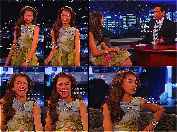 . 27/03/2013 : Zendaya sur le plateau de Jimmy Kimmel. Je trouve Zendaya toute rayonnante,de plus sa robe est super jolie! .