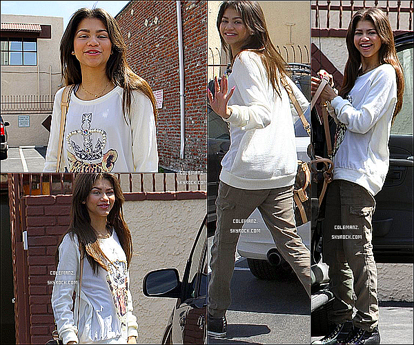 ". 03/04/2013 : Zendaya allant au répétition de ""Dancing With The Stars."" ."