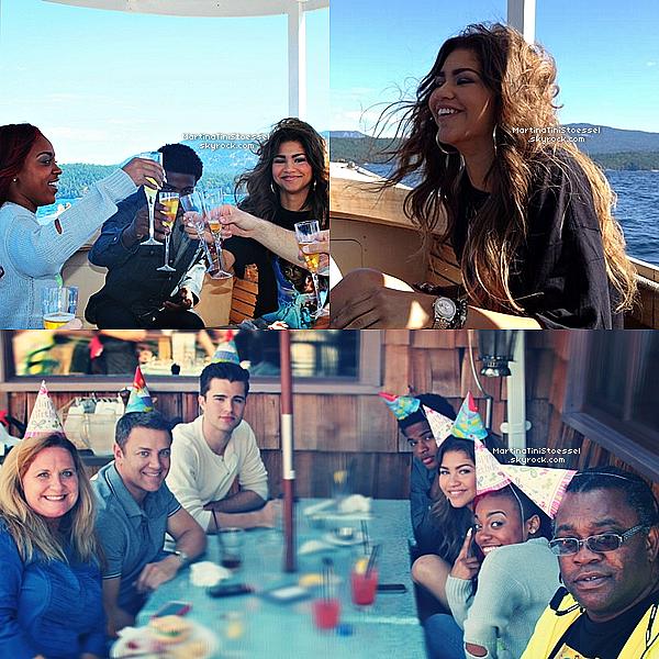 Zendaya fête son 17ème anniversaire avec des amis comme Trevor Jackson (chanteur) et Deja Carter (danseuse).