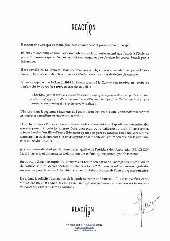 Courrier au Premier ministre concernant l'obligation du port du masque aux enfants à partir de 6 ans - CNTF Officiel - Version 2.0