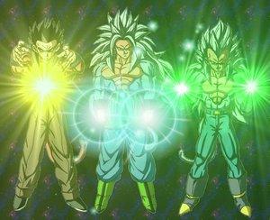 de gauche a droite Sangohan au niveau 4, Sangoku au niveau 5 et Vegeta au niveau 5