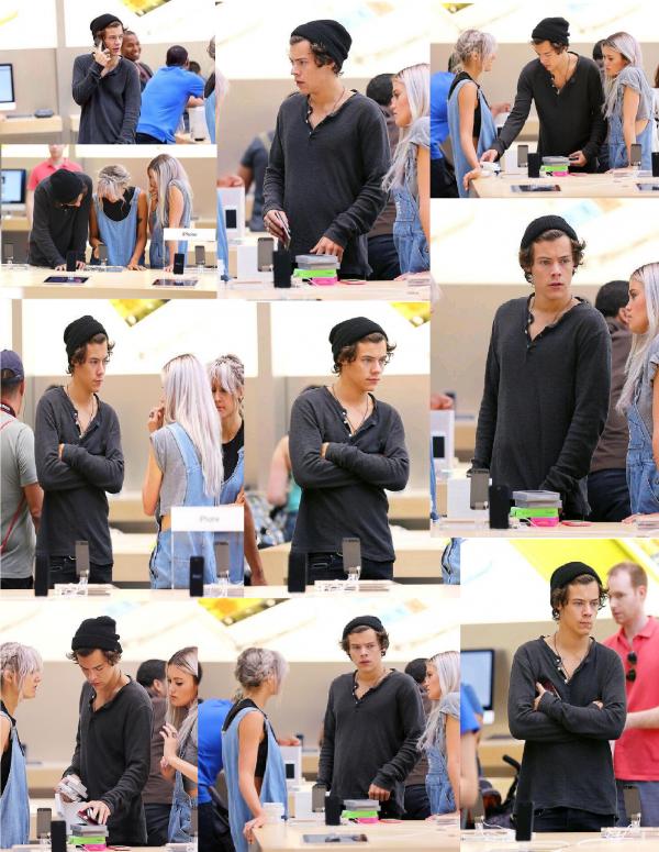 Harry le 30/06 devant son hôtel, dans un apple store avec Lou et Kana et dans une boîte de nuit à NY