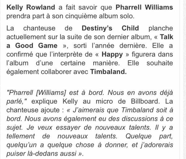 Kelly Rowland prépare déjà son 5ème album