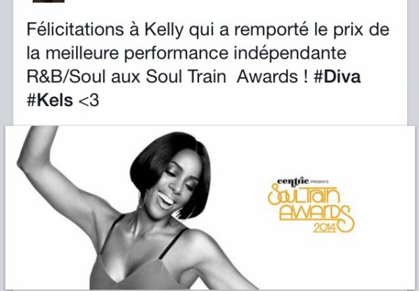Kelly rowland gagne un soul train award
