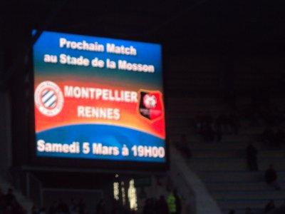 Prochain match au stade de la Mosson : MHSC - Rennes ! Venez nombreux !