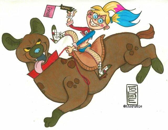 Harley Quinn et une de ses hyènes