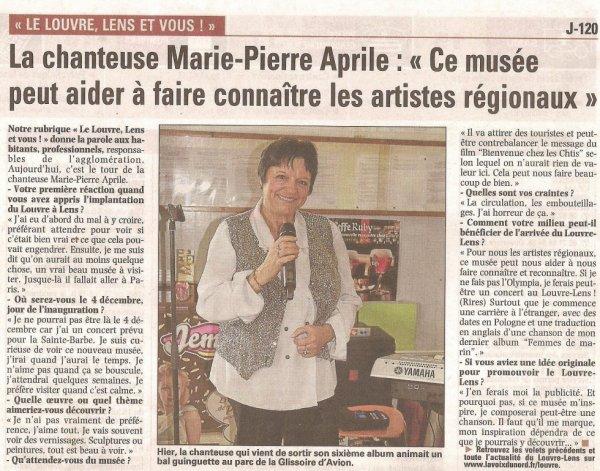 La Voix du Nord/ Le Louvre-Lens ! Marie-Pierre APRILE