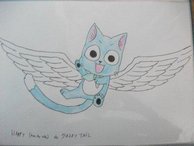 Déssin fairy tail:  Happy, Natsu et Lucy