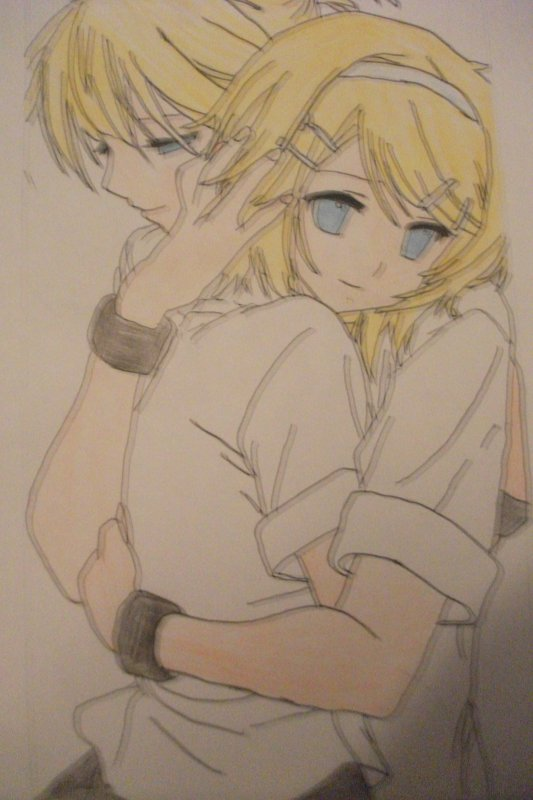 Dessin Rin et Len Kagamine (pour la st-valentin)