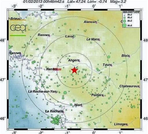Tremblement de terre entre Angers et Cholet :  49