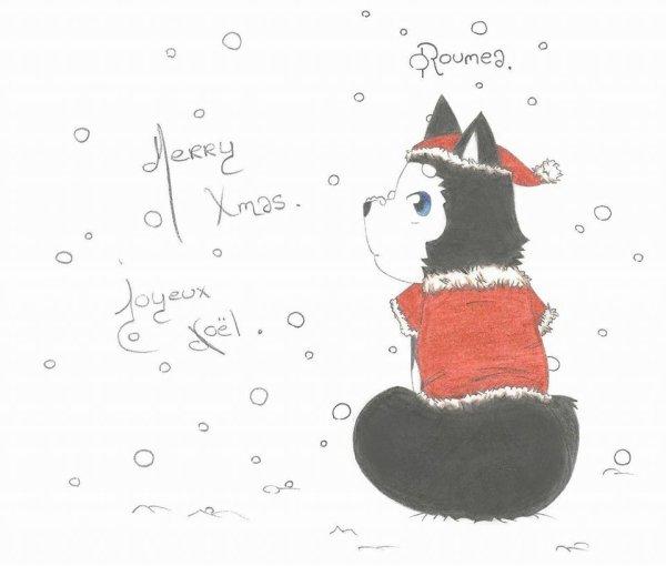 Repos bien mérité pour le père Noël, dessin fait par ma cadette ....