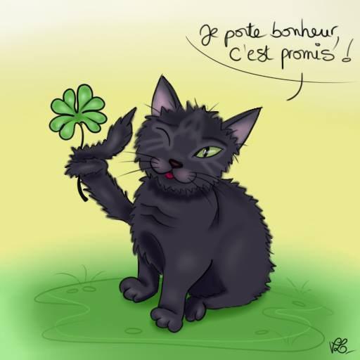 Hé oui! Les Chats noirs portent Bonheur, j'en sais quelque chose.....hein? Merlin!