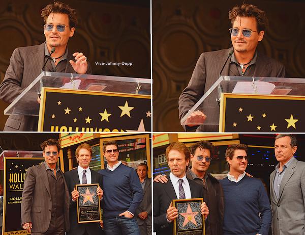 . 24 Juin 2013 : Le producteur Jerry Bruckheimer a reçu son étoile à HollywoodJohnny Depp et Tom Cruise étaient présents pour l'évènement ! .