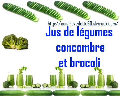 Jus de légumes concombre et brocoli.