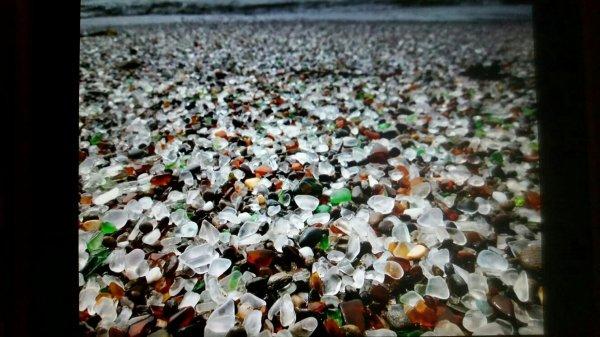 Verroterie : plage de verre poli