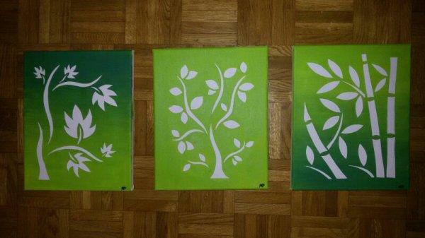 Voici des tableaux que j'ai cet après-midi, collection feuillage