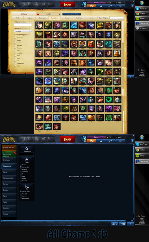 Compte League of Legends (All champions + ~70 skins)