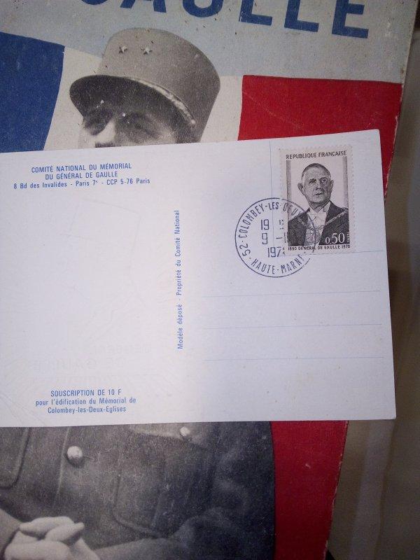 Carte postale commémorative du décé du général De Gaulle.