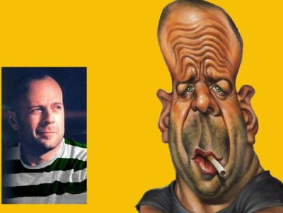 caricature bruce willis