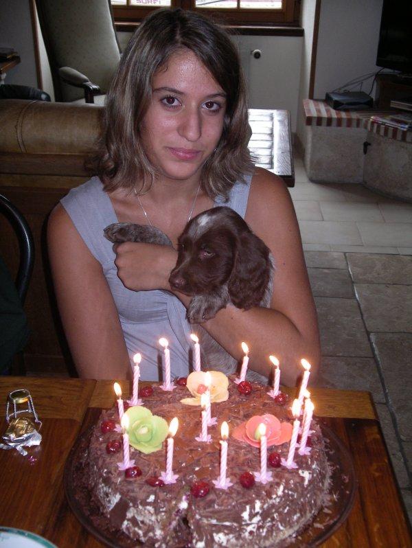 Les 16 ans de Marie le 12 août 2010 avec Fidji qui avait 2 mois!!