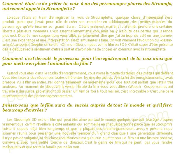 """Découvrez l'interwiew de Katy au sujet de son interprétation vocale dans """"The Smurfs 3D"""""""