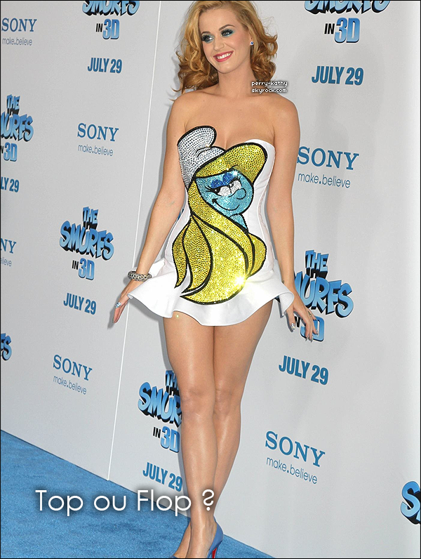 24/07/11 : Katy Perry assistait à l'avant-première de The Smurfs 3D dans la ville de New-York.
