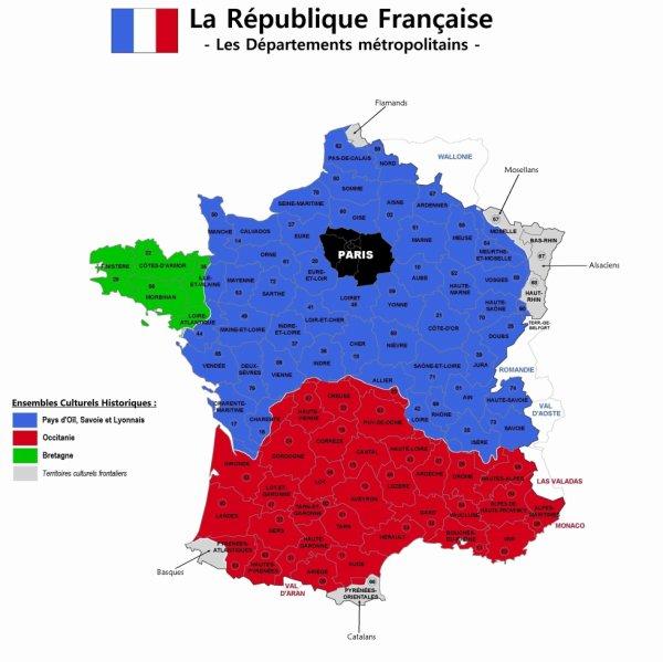 Les départements de la République Française - Les ensembles culturels Historiques