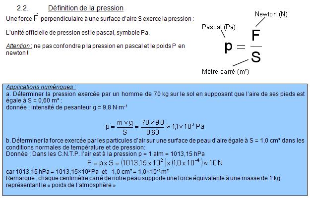Chapitre 1. Pression