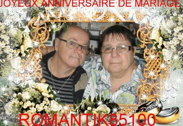 merci mon amie romantik85100 pour notre anniversaire de mariage de ma rose d'amour et moi je te souhaite un bon dimanche et je te fait des gros bisous