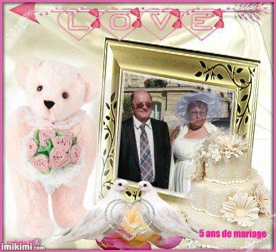 bonjour mon amie sylvie166 pour c'est sublimes cadeaux d'anniversaire de mariage et oui déjà 5 ans et beaucoup de bonheur je te souhaite un belle après-midi et je t'envoi tout plein de gros bisous