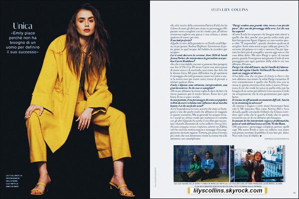 MAGAZINE ✧  Découvrez l'article sur Lily Collins  dans le Grazia Magazine - Italie, 10/2020