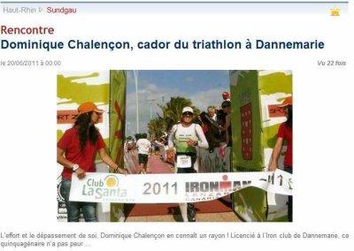 Article du 20/06/2011 dans l`Alsace sur Dominique