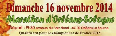 Marathon d´Orléans-Sologne  (45) le dimanche 16 novembre 2014