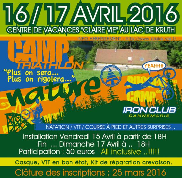 Stage organisé par l'Iron club triathlon pour les jeunes et les adultes - 16 et 17 avril 2016