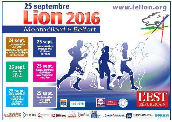Semi-marathon du Lion de Belfort (90) le 25 septembre 2016