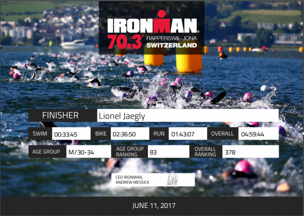 Ironman 70.3 Rapperswill (Suisse) le 11 juin 2017