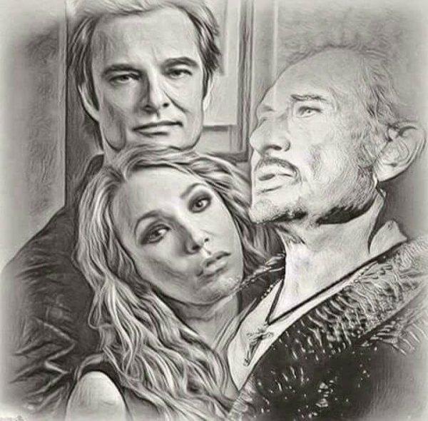 magnifique Johnny avec sa fille et son fils