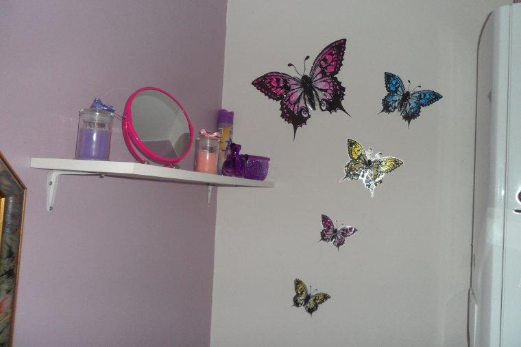 Déco toilette , voilage mauve et papillons en reliefs....lessivé les murs les plinthes et les tuyaux....demain je m ' occupe des portes ....