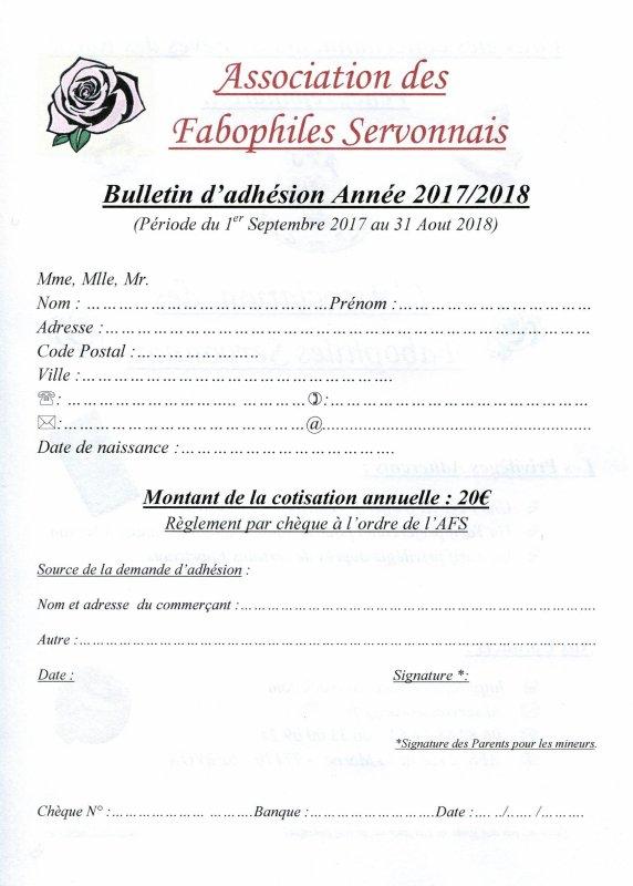 Bulletin Adhésion AFS 2017 / 2018