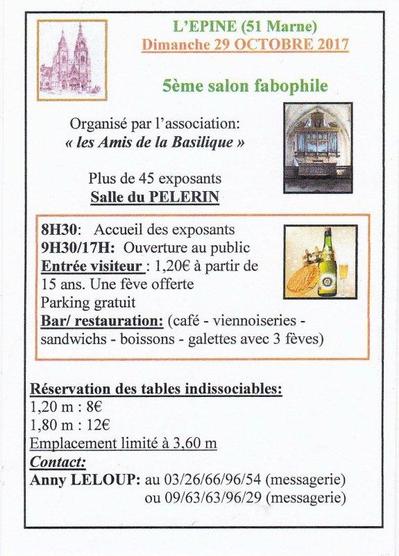 """L'AFS sera Exposant au Salon de """"L'Epine"""" le  Dimanche 29 Octobre 2017"""