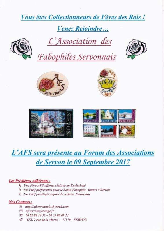 L'AFS sera présente au Forum des Associations de Servon le 9 septembre 2017, Salle Roger Coudert, 15 rue de la Poste, 77170 SERVON