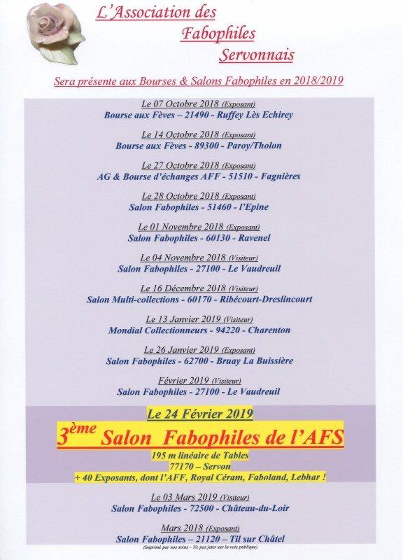 Calendrier de l' AFS. Présences Salons 2018 / 2019