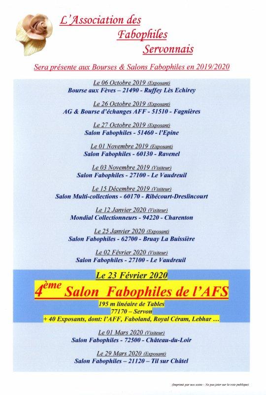 Calendrier des Présences de l'AFS Salons & Bourses 2019/2020