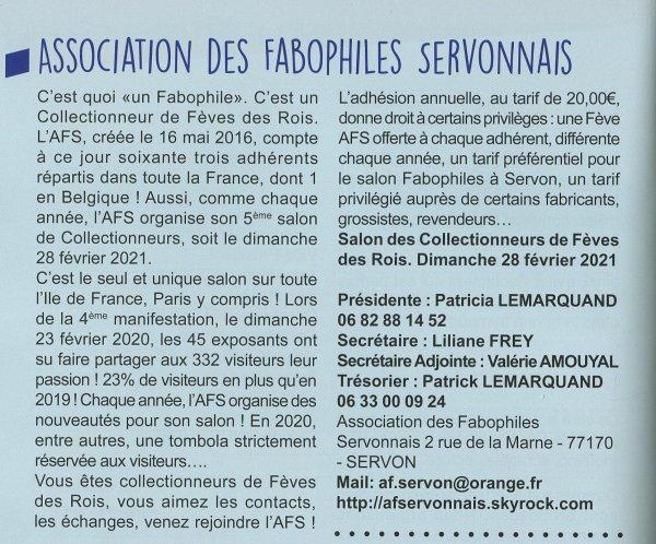 Bel Article pour l'AFS et son Salon Annuel dans le Guide Pratique 2020/2021 de SERVON