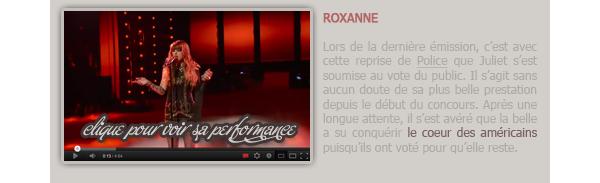 """EVENTS - THE VOICE // Les prestations actuelles de Juliet Simms."""" La meilleure prestation de tous les temps ! """" - Adam Lambert au sujet de la reprise de Roxanne par Juliet."""