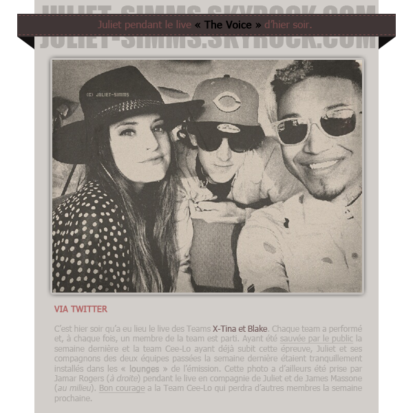"""EVENTS - THE VOICE // Juliet se relaxe dans les lounges."""" Le Triple JS ! """" - Juliet via Twitter."""