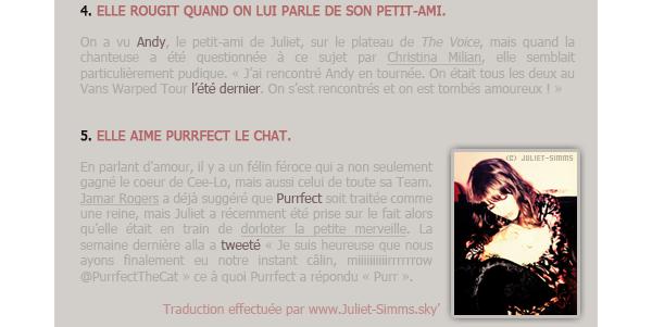 """PRESSE - INTERNET // Cinq choses que vous devez savoir sur Juliet."""" Je suis impatiente d'avoir un chaton. Première chose que je ferai après le show. """" - Juliet via Twitter."""