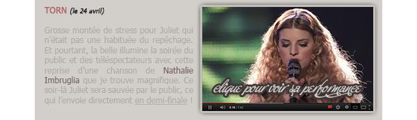 """EVENTS - THE VOICE // Rattrapage des dernières prestations de Juliet."""" Fuck. Yes. !!!!!!!!! """" - Andy après la prestation de Juliet.."""