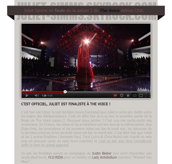 """EVENTS - THE VOICE // Les résultats de la grande finale c'est ce soir !"""" Numéro 8 sur iTunes !! Vous gérez !! Continuons à monter !!! #FreeBird """" - Juliet aujourd'hui.."""